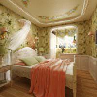 Обои с растительным орнаментом в спальне супругов