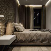 Темно-серый интерьер спальной комнаты