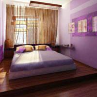 Сочетание коричневого пола с фиолетовыми стенами
