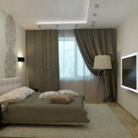 Спальня с окном в конце комнаты