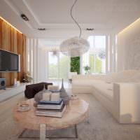 Светлый зал в стиле минимализма