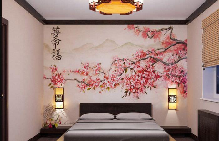 Украшение фотообоями стены в узкой спальне