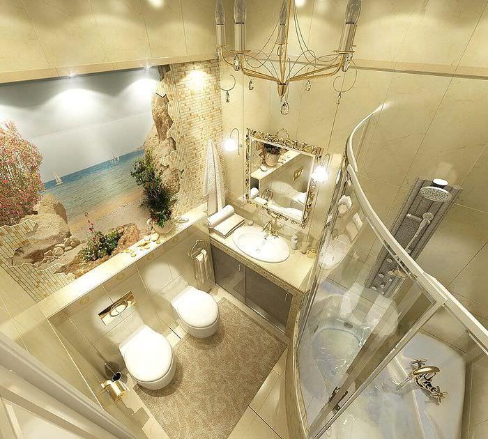 Фотообои в ванной комнате, совмещенной с туалетом