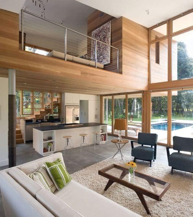 Дизайн гостиной без потолка в загородном доме