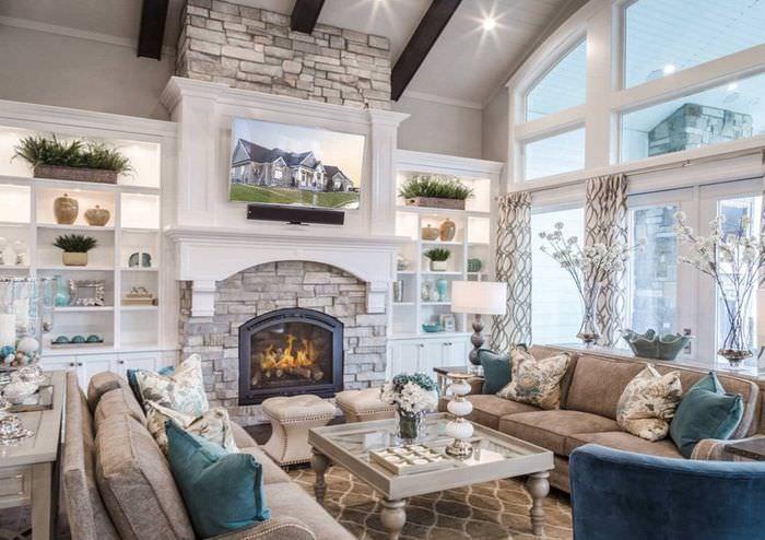 гостиная в стиле прованс с камином фото опубликовала уникальное