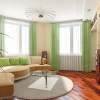 Зеленые занавески из легкого материала