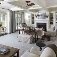 Ковровое покрытие серого цвета в современной гостиной