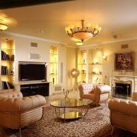 Освещение гостиной в современном стиле