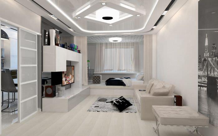 Светлый зал в стиле новомодного хай-тека