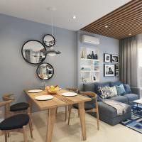 Зонирование комнаты рейками на потолке