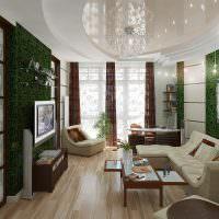 Стеклянная люстра на глянцевом потолке