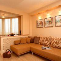 Декоративная подсветка картин на стене гостиной