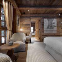 Интерьер уютной спальни частного дома