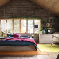 Интерьер спальни в эко стиле