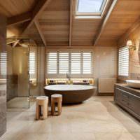 Дизайн ванной комнаты в стиле шале