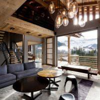 Элементы минимализма в доме альпийской стилистики