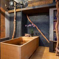 Деревянная ванна в восточном стиле