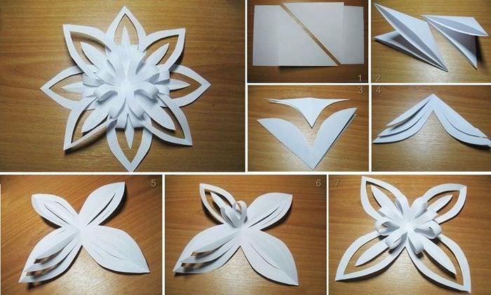 Схема изготовления самодельной снежинки из бумаги