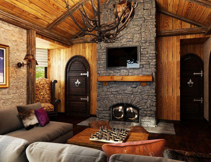 Оформление зоны отдыха в гостиной перед камином