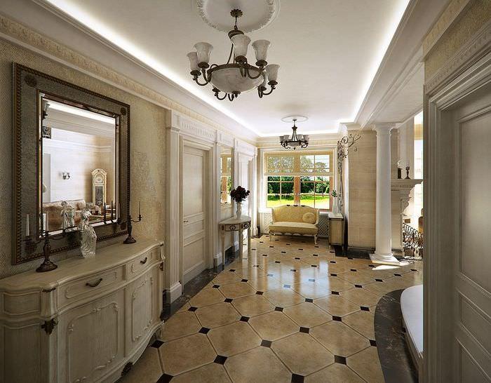 Светлый керамический пол в интерьере холла