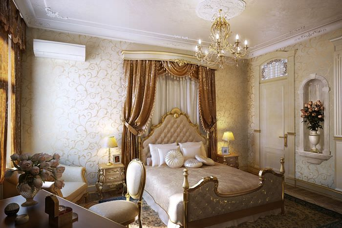 Интерьер спальни в стиле классики