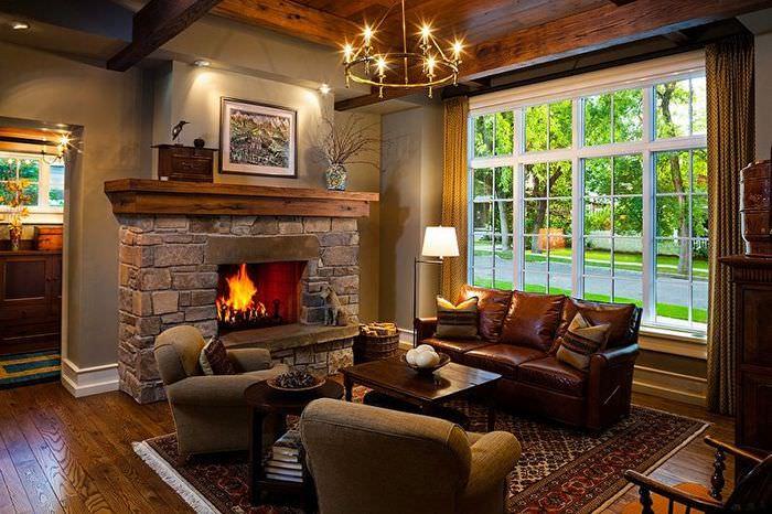 Интерьер классической гостиной в частном доме