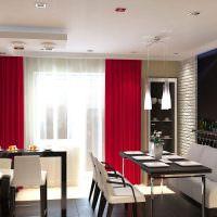 Сочетание красных штор с черными столешницами