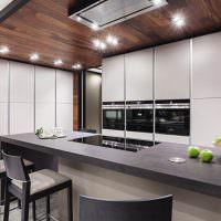 Отделка потолка над рабочей зоной ламинированными панелями