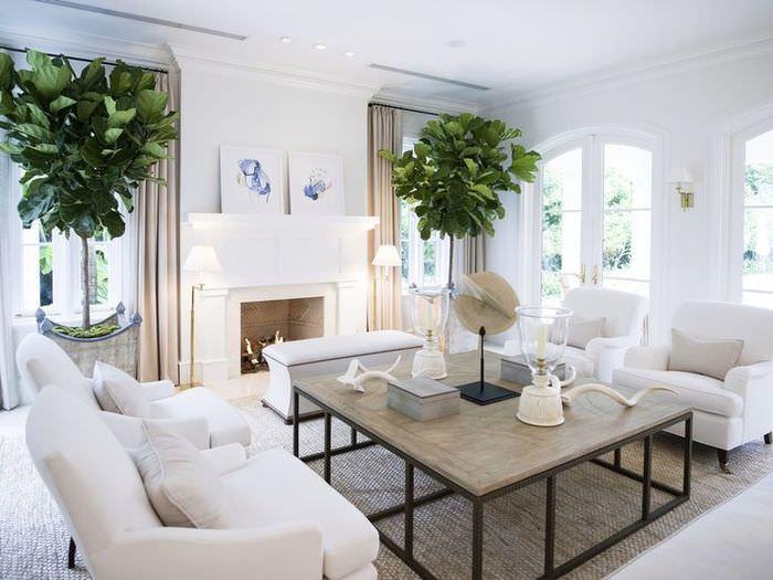 Зона отдых в гостиной с параллельным расположением мягкой мебели