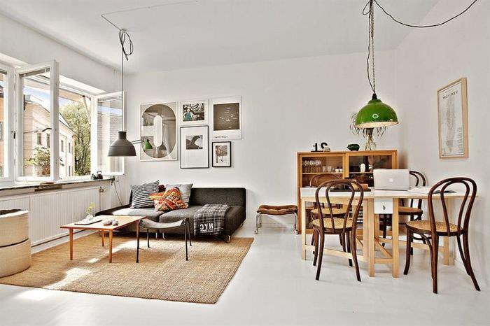 Интерьер квартиры-студии в белом цвете