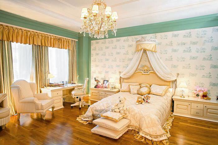 Ламинированное покрытие пола в спальне классического стиля