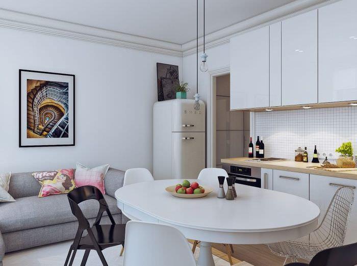 Освещение в квартире-студии скандинавского стиля