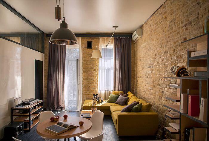 Комната в хрущевке в стиле лофта