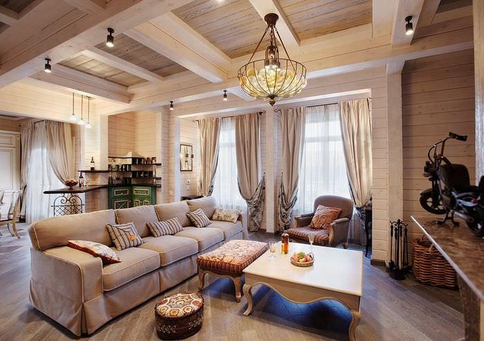 Дизайн уютной гостиной в доме из бруса