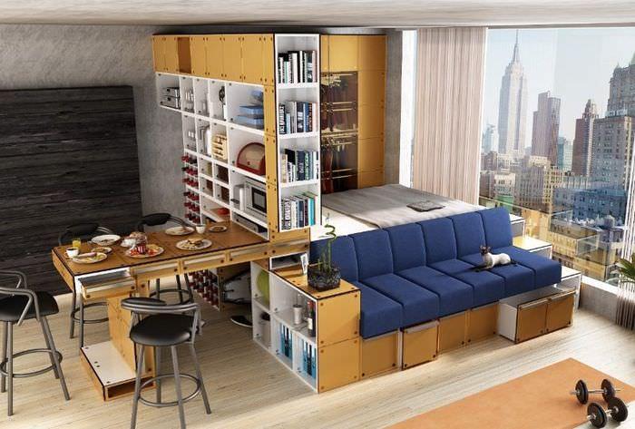 Модульная мебель в интерьере однокомнатной квартиры