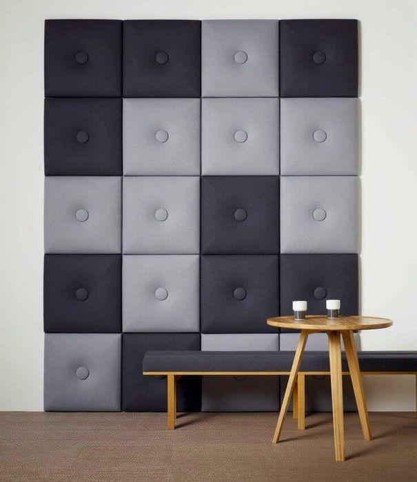 Декорирование стены мягкими панелями