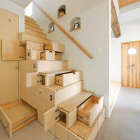 Выдвижные ящики в ступенях лестницы