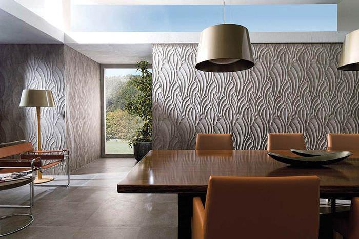 Отделка стен гостиной плиткой с 3d эффектом
