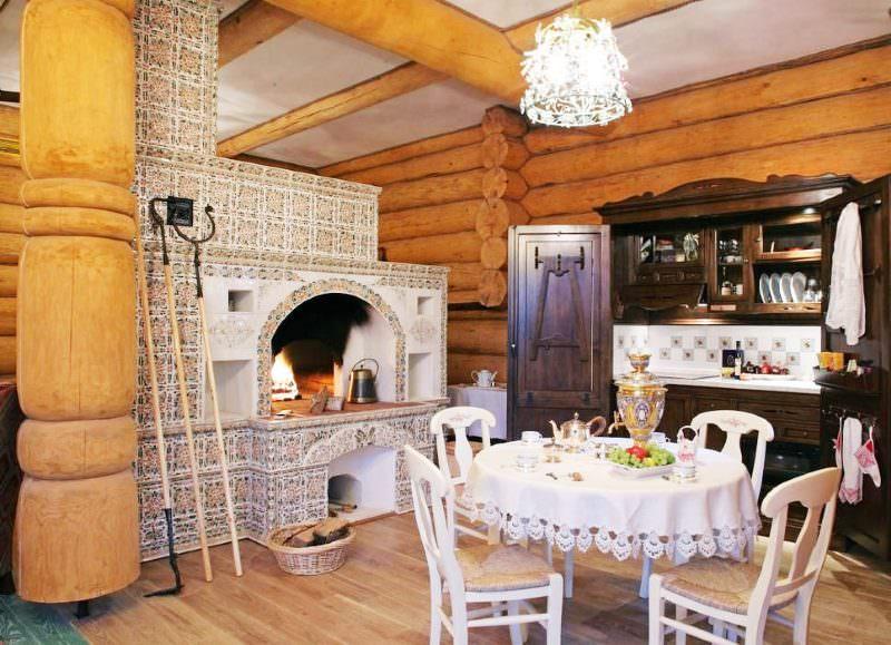 Русская печка в интерьере дома из бревна