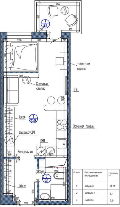 План-схема квартиры студии прямоугольной конфигурации
