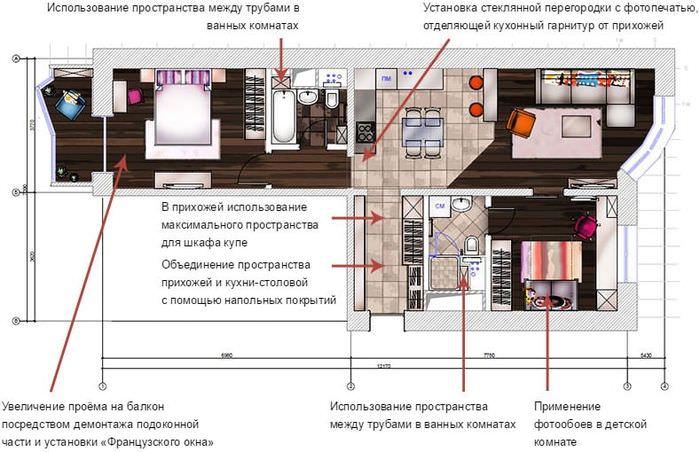 План трехкомнатной квартиры после объединения кухни и гостиной