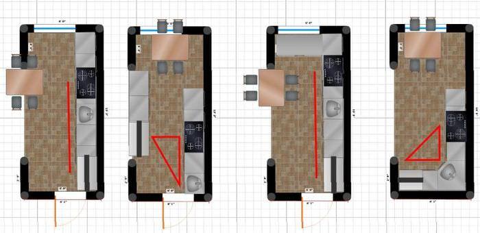 Схемы планировочных решений для узкой кухни