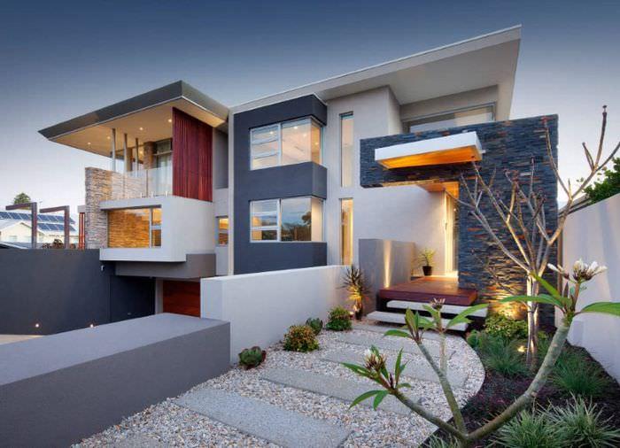 Современный стиль декорирования фасада