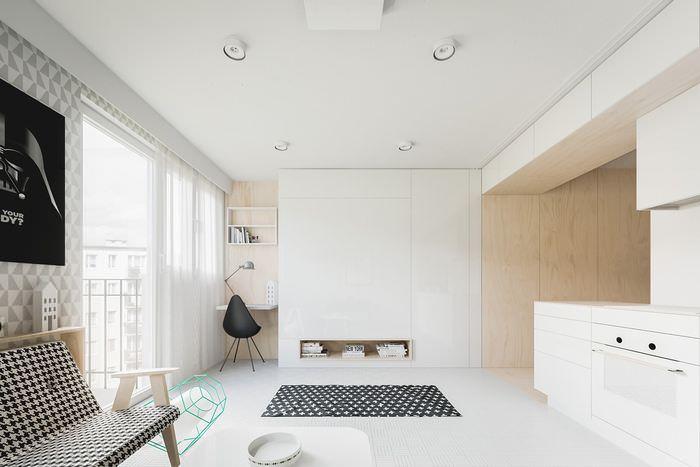 Дизайн квартиры студии с откидной кроватью