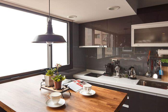 Линейная кухня в квартире-студии