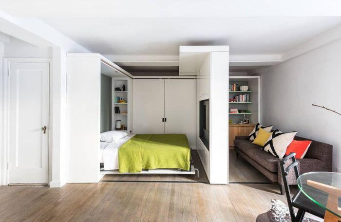 Зонирование комнаты с помощью сдвижной перегородки