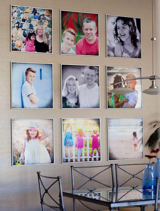 Декор стены кухни-столовой фотографиями