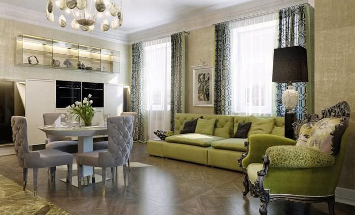 Дизайн гостиной частного дома в стиле арт-деко