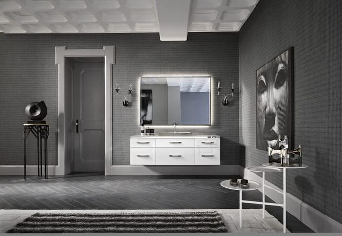 Дизайн холла современного дома в серых тонах