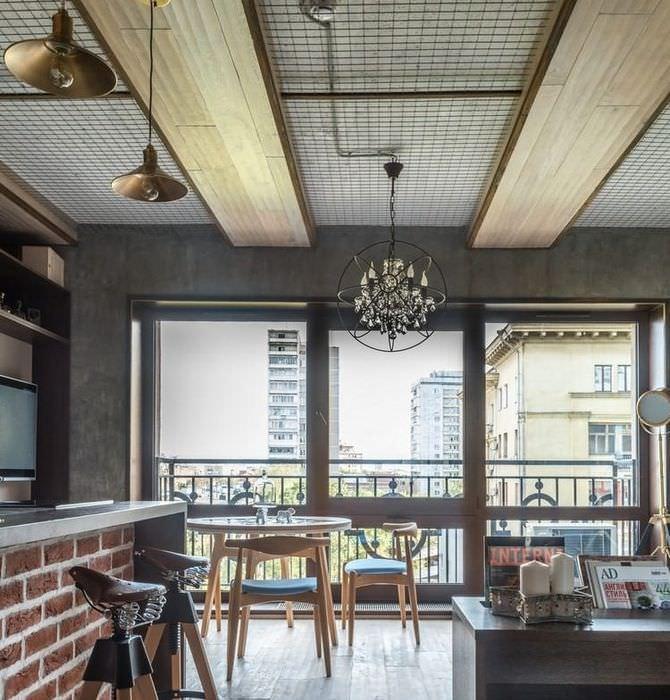 Потолок в гостиной стиля лофт